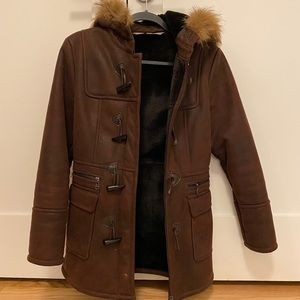 Marc New York brown hooded shearling coat